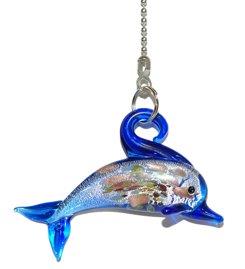 Large Glass Ceiling Fan Pulls: COLORFUL GLASS DOLPHIN CEILING FAN PULL