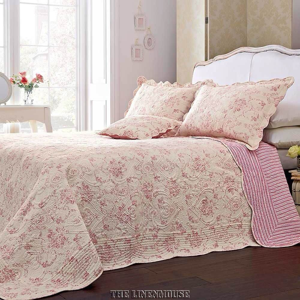Superb Heavy Weight 100 Cotton Pink Amp Cream Quilted Toile