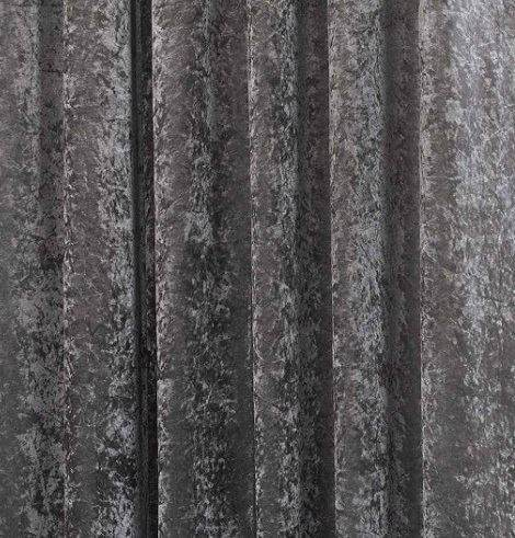 Ring Top Eyelet Plush Crushed Faux Velvet Steel