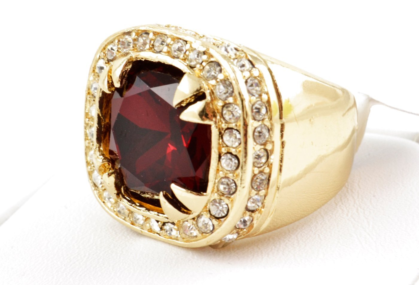 red ruby signet ring 14k yellow gold finish band ebay. Black Bedroom Furniture Sets. Home Design Ideas