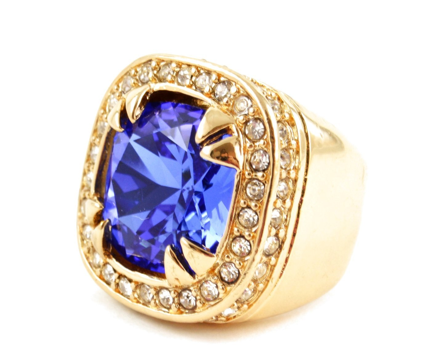 mens yellow gold finish sapphire gem solitaire signet ring. Black Bedroom Furniture Sets. Home Design Ideas