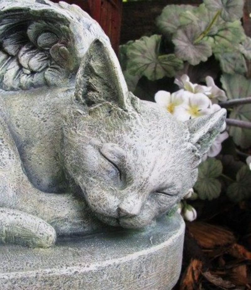Small Angel Statues For Graves: KITTY CAT ANGEL Garden Statue Grave Stone Marker PET