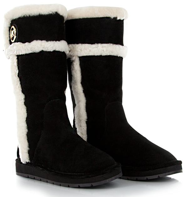 New Michael Kors Women Black Suede WINTER TALL BOOTS II Shoes Snow ...