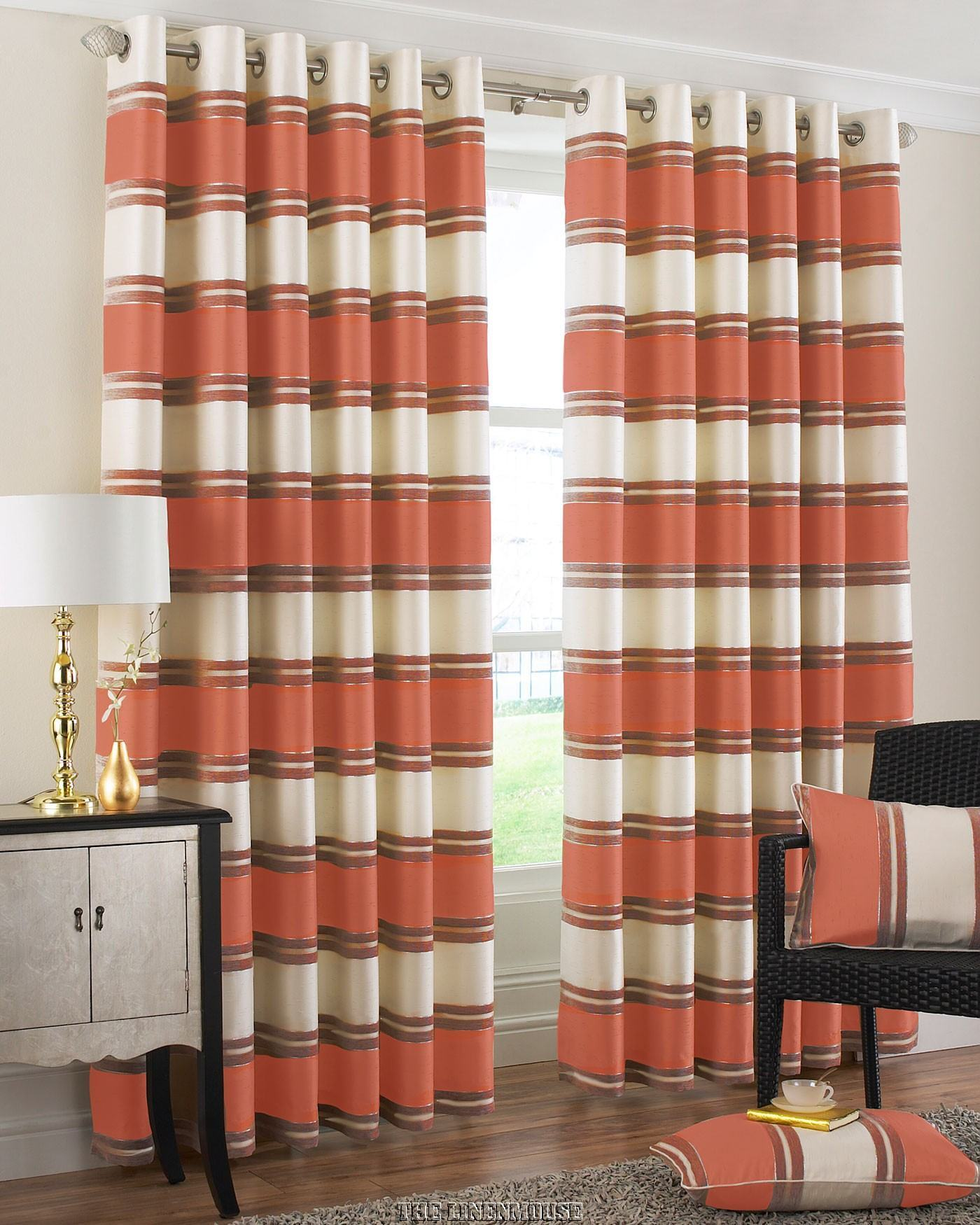 Orange And Cream Striped Curtains Curtain Designs
